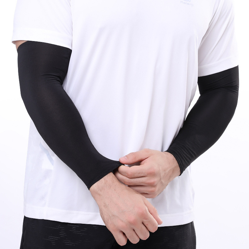 Men Breathable Quick Dry Sun UV Protection Running Arm Sleeves Basketball Elbow Pad Fitness Armguards Sports Cycling Arm Warmers