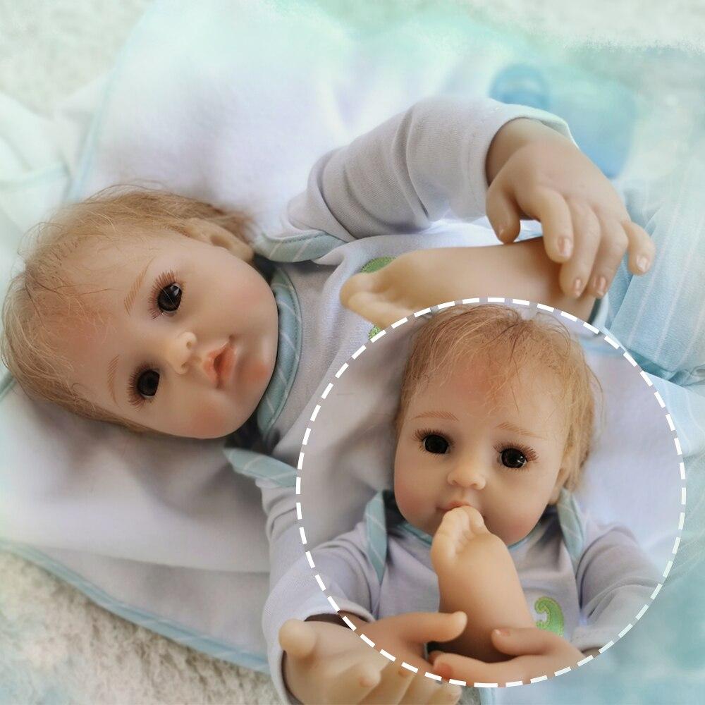 Otardddolls renascer 20 50 cm bebe silicone macio reborn bonecas do bebê do vinil brinquedos bonecas para meninas bonecas do bebê velho com pano azul