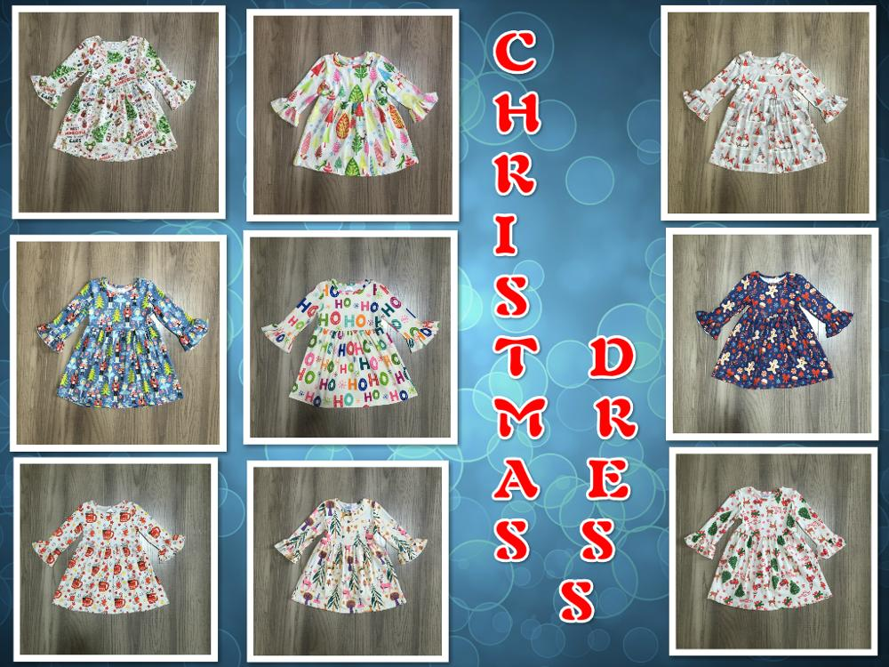 Exclusive Girlymax Christmas Tree Girls Children Clothes Baby Deer Winter Long Sleeve Ruffle Gingerbrea Milk Silk Dress Boutique 1
