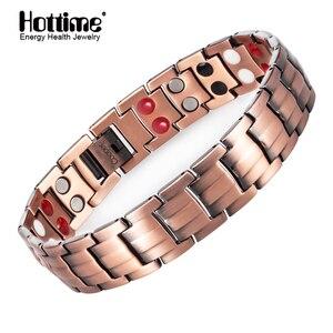 Image 1 - Hottime Double Row 4 IN 1 Bio Elements Energy Magnetic Bracelet Mens Fashion Healing 99.95% Pure Copper Bracelets Bangles