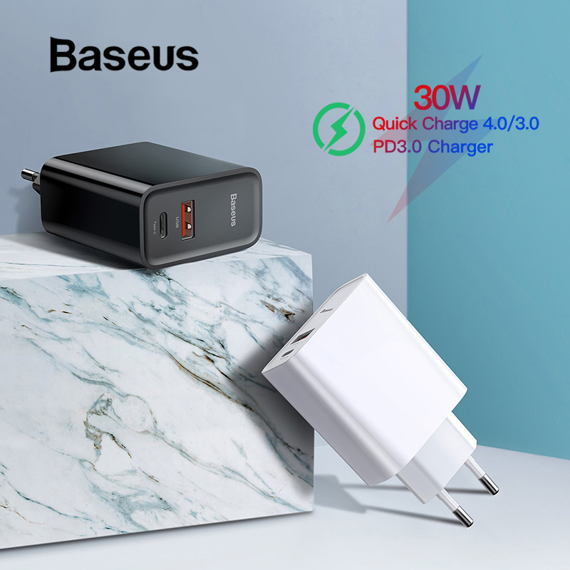 Baseus Quick Charge 4.0 3.0 USB Charger Type C QC 4.0 3.0 Charger for Samsung s10 plus 18W PD 3.0 Fast Charger for iPhone 11 Pro-in Mobile Phone Chargers from Cellphones & Telecommunications