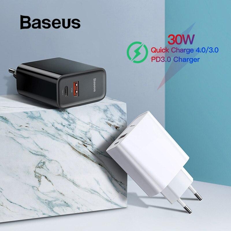 Baseus Quick Charge 4,0 3,0 USB Ladegerät Typ C QC 4,0 3,0 Ladegerät für Samsung s10 plus 18W PD 3,0 Schnelle Ladegerät für iPhone 11 Pro