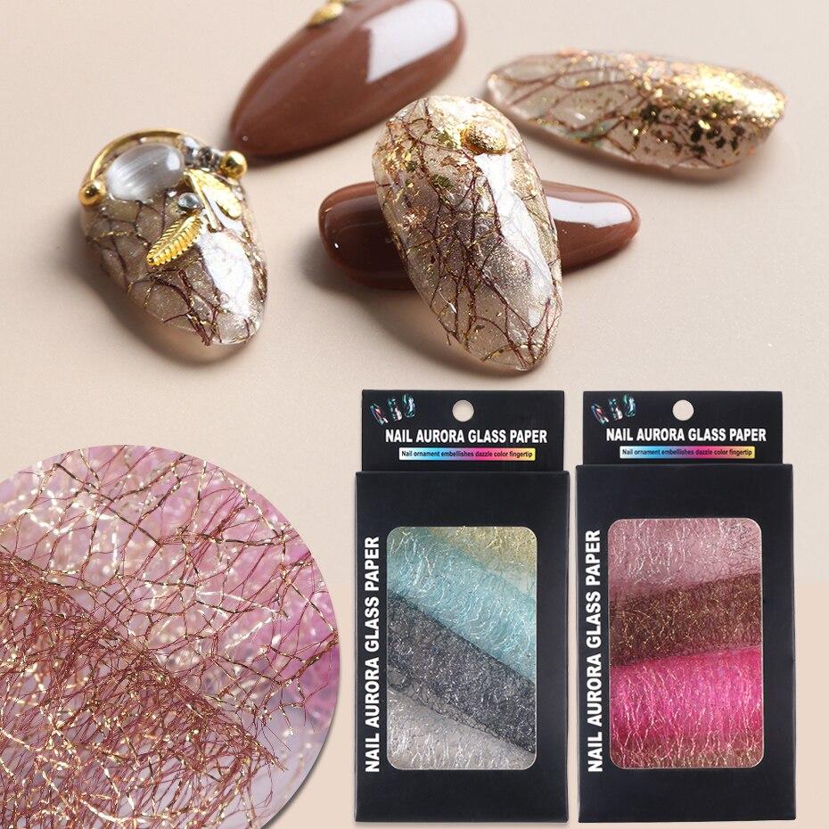 3D Mesh Nail Art Sticker Gold Silver Lace Hollow Net Line Nail Foil Design Manicure Decal Wraps Decorations Accessories TR1566-1