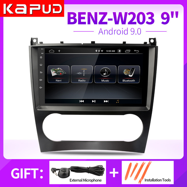 $ US $123.64 Kapud 9'' Multimedia Navigation One Din Android9 Player Autoradio Stereo For Mercedes Benz W203 W209 C180 C200 With Wifi DSP GPS