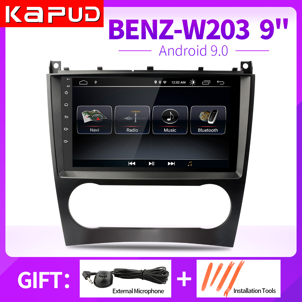 Kapud 9'' Multimedia Navigation One Din Android9 Player Autoradio Stereo <font><b>For</b></font> <font><b>Mercedes</b></font> Benz W203 W209 C180 <font><b>C200</b></font> With Wifi DSP <font><b>GPS</b></font> image