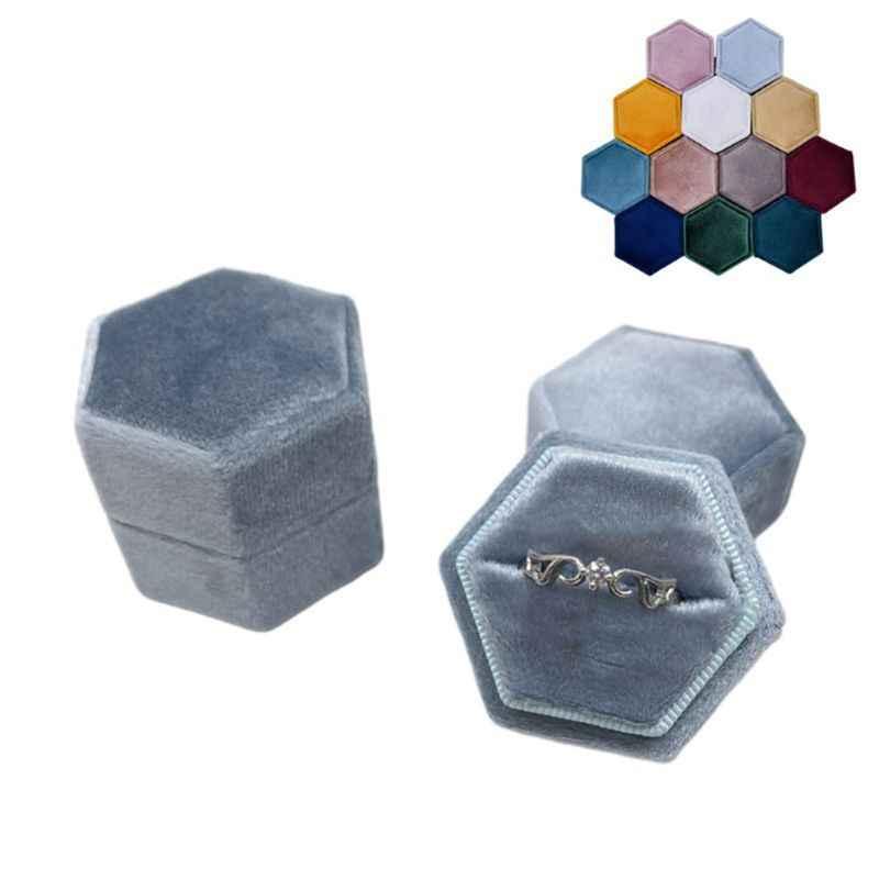 مسدس صندوق خاتم قطيفة حلقة واحدة عرض حامل مع غطاء قابل للفصل حلقة حامل الصندوق لعيد الحب (IS47)