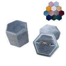 Hexagon Velvet Ring Box Single Ring Display Holder with Detachable Lid Ring Box Holder for Valentine's Day(IS47)