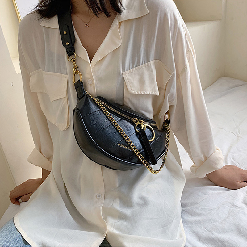 Women's PU Banana Bag Fanny Pack Solid Color Shoulder Messenger Chest Bags Female High Quality Belt Bag Waist Pack Pouch Pocket