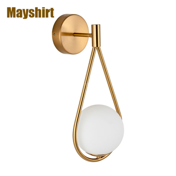 Glass Ball Wall Lights for Home Decor Nordic Modern Gold Wall Lamp Bedroom Bedside Living Room Decoration Indoor Wall Lighting