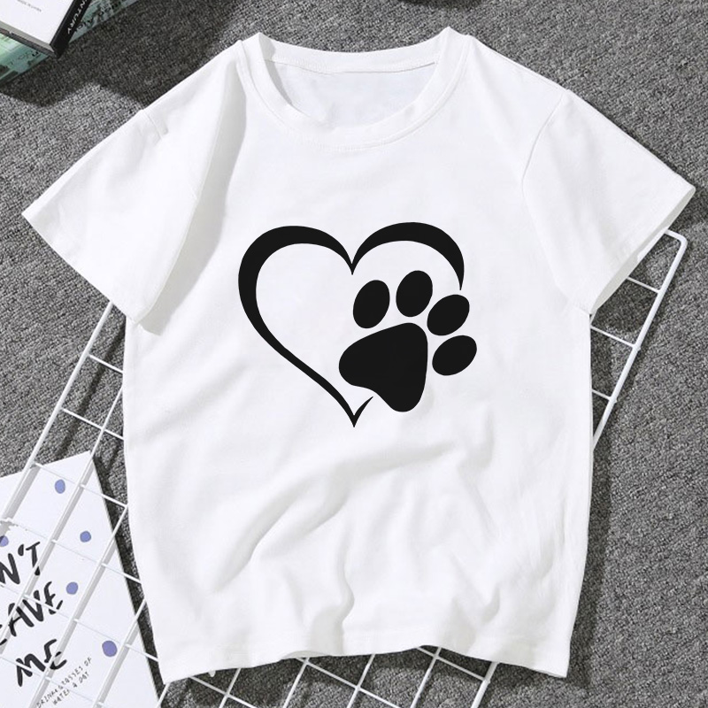 New Devil's Claw Cute Love Dog Paw Print T Shirt Women 2020 Summer Casual Vintage Tshirt Fashion Top Shirt Female T-shirt Tumblr
