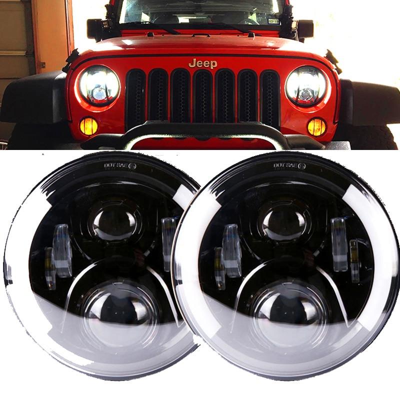 2X 7inch 60W Round LED Headlights Halo Angle Eyes For Jeep Wrangler JK LJ TJ CJ