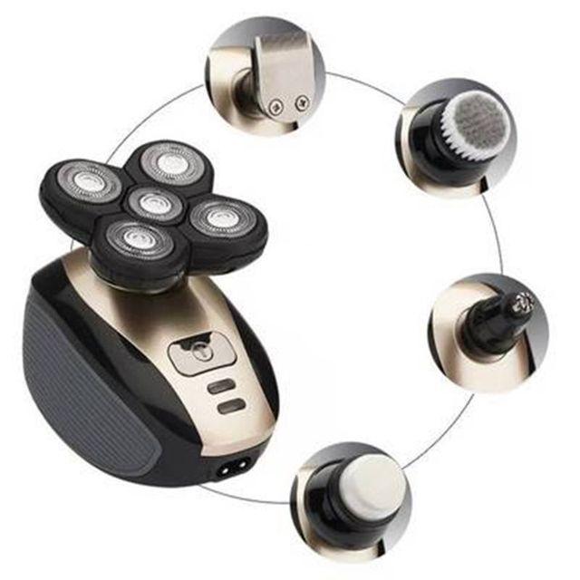 Электробритва мужская с 5 головками, Водонепроницаемый Многофункциональный бритвенный станок 4D с USB зарядкой