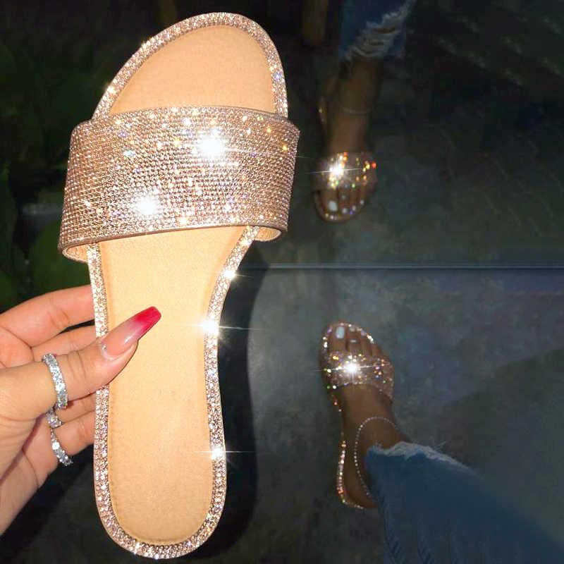 Kadınlar için yaz sandalet Bling terlik Femmes sandalet daireler gladyatör sandalet kadın plaj ayakkabısı kadın Sandalia Feminina