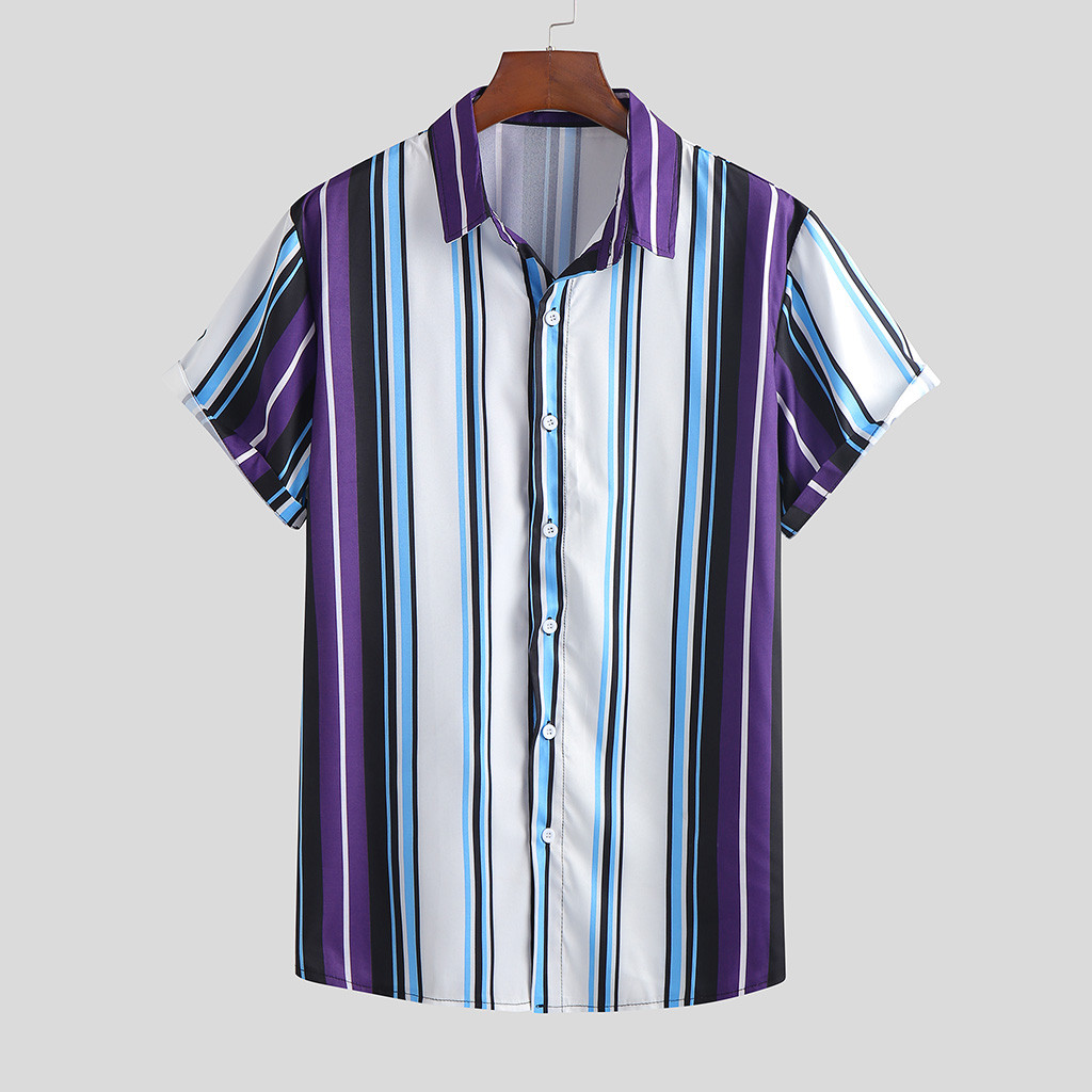 Men's Summer Fashion Casual Lapel Print Short Sleeve Shirt Top Blouse 2020 Hot New Products Spot Supplier Dropshipping Hot INS S