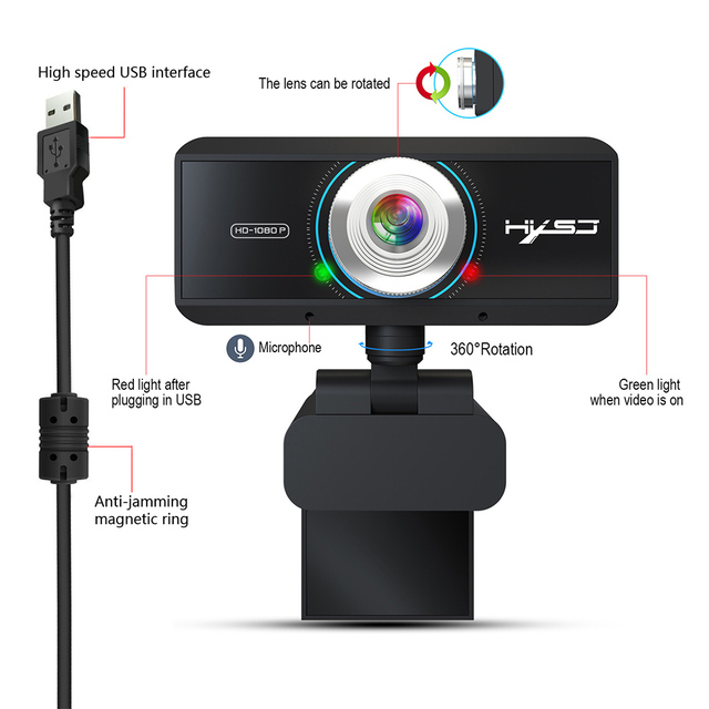 Webcam 1080P 30FPS Full HD Streaming Video Anchor USB Web Camera Built-in Stereo Microphone With Tripod for PC Computer 5