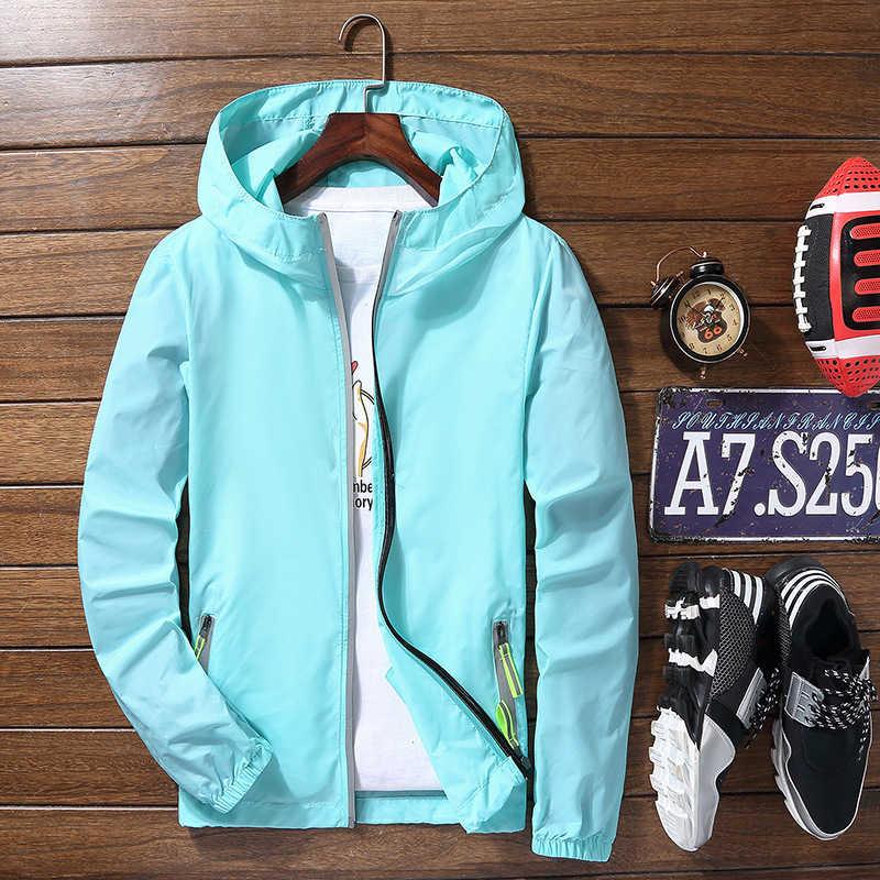 Ultra lekka męska letnia kurtka z kapturem super cienkie wiatroszczelny płaszcz łatwy w pakowaniu ochrony przeciwsłonecznej wodoodporne kurtki okazjonalne plażowe