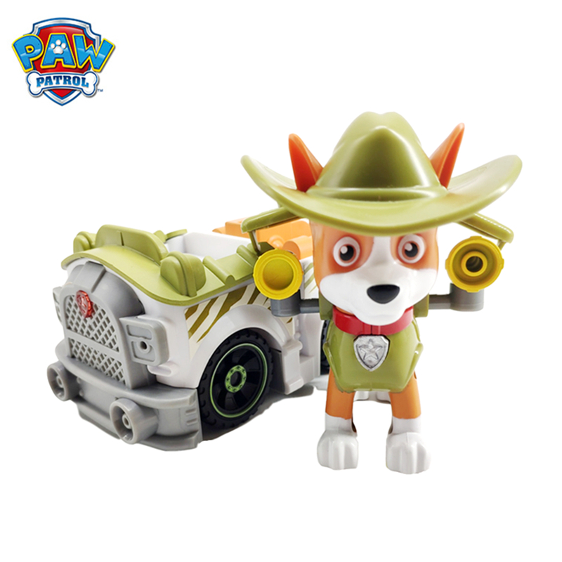 Paw Patrol Dog Everest Tracker Snow Jungle Rescue Cars Pull Back Music Patrol Ski Vehicle Anime Figure Action Model Toys Collect image