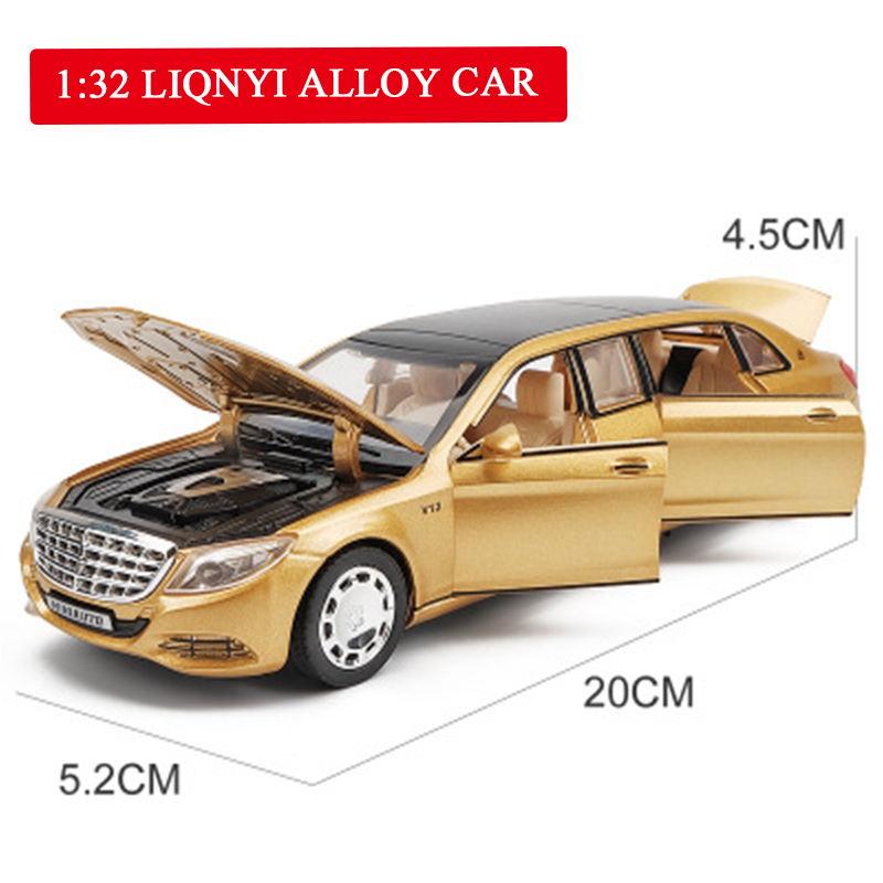 1:32 Metal Toy Car Model Maybach S650 Alloy Car Diecasts Vehicles With Sound Light Pull Back Car Toys Collection For Kids Gifts