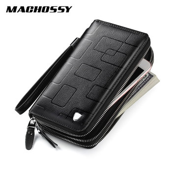 New Luxury Brand Wallet Men Genuine Leather Long Clutch Double Zippers Large Capacity Fashion Male Wallets