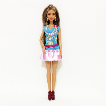 Fashion Pink Short Dress Outfit Set for Barbie 11 Inches  BJD FR SD Doll Clothes Dollhouse Roll Play Accessories nk one set doll fashion hi fi tv theatre set dollhouse furniture decor accessories for barbie doll for monster high doll