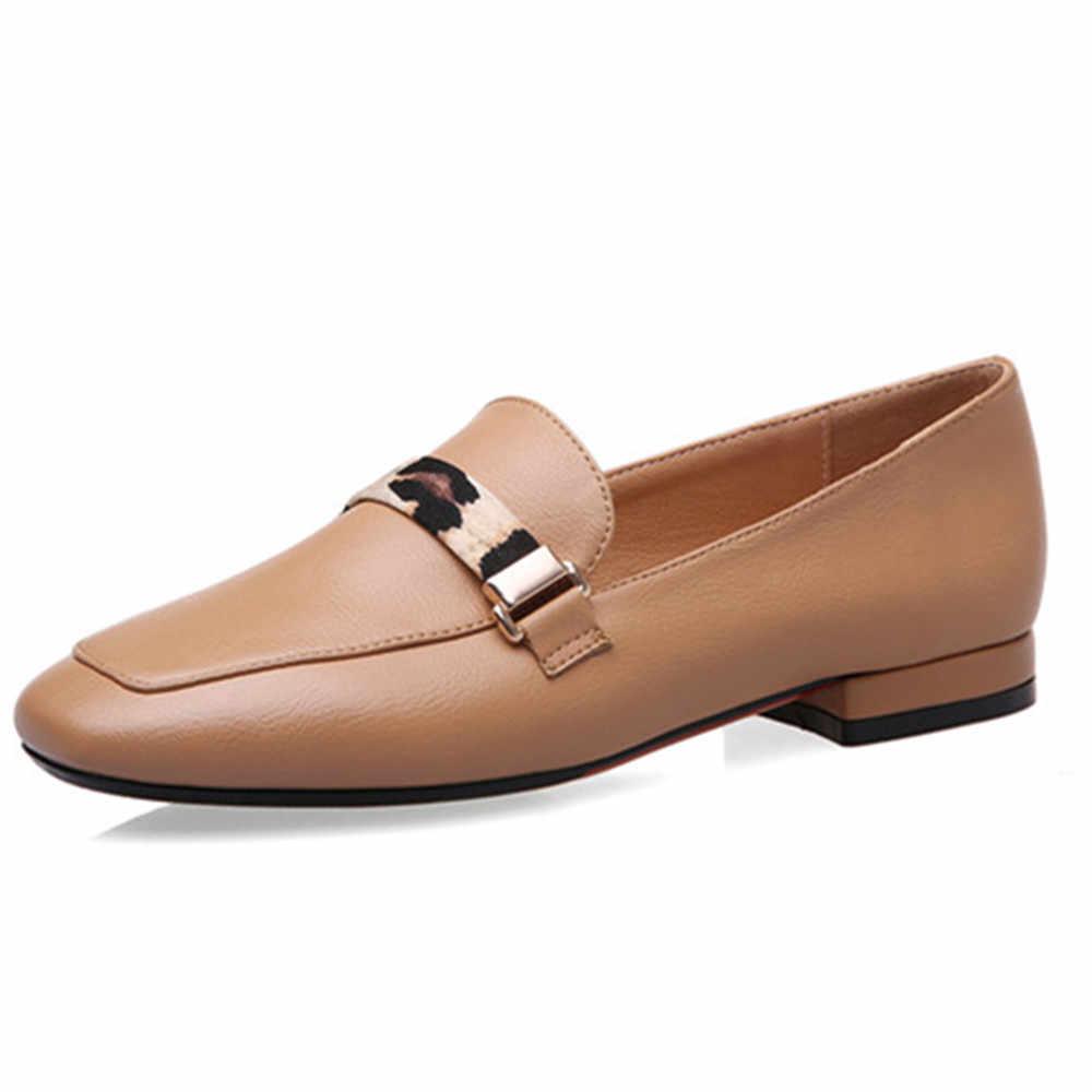ASUMER 2020 big size 43 vrouwen pompen Luipaard print metalen slip op comfortabele casual schoenen lente zomer enkele schoenen dames