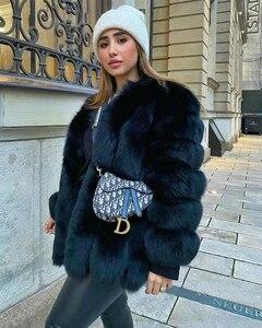 Image 5 - BFFUR 2020 роскошные женские зимние пальто с натуральным мехом, модные синие шубы с лисьим мехом для женщин, настоящая лисица, толстая, теплая, вся кожа