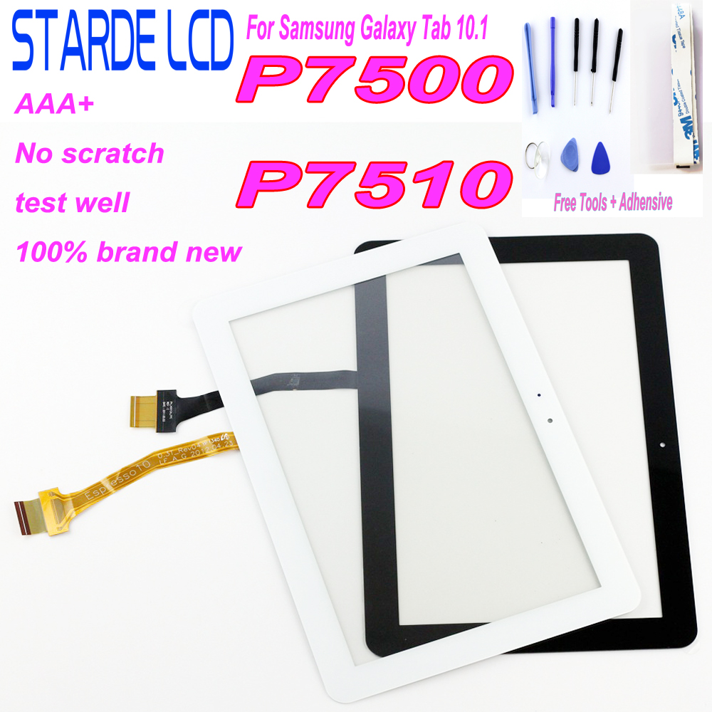 100% Tested Digitizer Touch Screen Glass Panel For <font><b>Samsung</b></font> Galaxy Tab 10.1 3G P7500 <font><b>P7510</b></font> <font><b>GT</b></font>-P7500 <font><b>P7510</b></font> P7501 (Not LCD assembly image