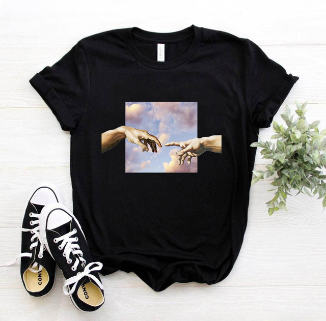 New Michelangelo T Shirt Ulzzang Hands Femme Vintage Women Harajuku Tshirt 90s Aesthetic Female Aesthetic Grunge Graphic T-shirt 1