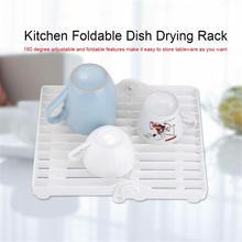 Folding Drain Dish Drying Rack White Color Rein Plate Draining Storage Kitchen Organizer Accessories