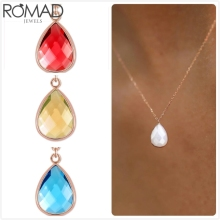 ROMAD Crystal Necklace Women Wedding Rose Gold Gem Stone Link Chain Chokers Water Drop Pendant Girl Collier R5