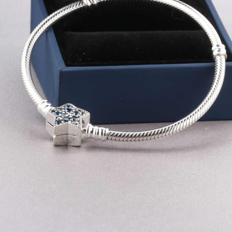 2019 neue Original 925 Sterling Silber Perle Charme Armband Blau Helle Sterne Schlange Kette Grundlegende Armband Fit Pan Frauen DIY schmuck