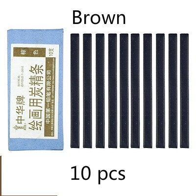 Черный уголь, брусок коричневый темно-серые растворимые в воде черный угольный карандаш дизайн Тип карандаш для рисования скетчей Рисование набросков расходные материалы - Характеристики: Brown  1 box