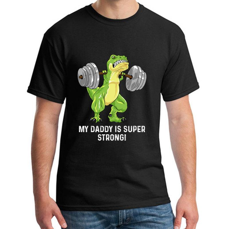 >printed Daddy Strong T Rex Dino Squat Gift Powerlifter Gym t-shirt s-5xl Famous Casual Unique <font><b>men</b></font> <font><b>tshirts</b></font> <font><b>Crew</b></font> Neck Outfit