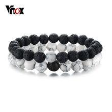 Vnox 2 adet/takım çiftler mesafe bilezikler kadınlar için adam doğal taş beyaz ve siyah Yin Yang boncuk en iyi arkadaşlar bilezik hediyeler