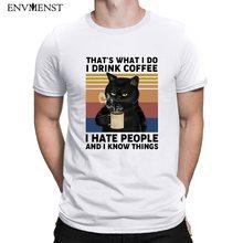Envmenst camisa masculina fora branco engraçado gato preto que é o que eu faço eu bebo café eu odeio pessoas atacado harajuku camiseta masculina topos