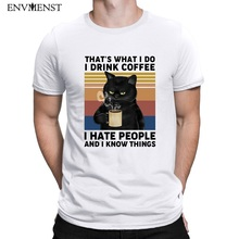 Envmenst Men T Shirt Off White Funny Black Cat That's What I Do I Drink Coffee I Hate People Harajuku Men's tshirt Tees Tops
