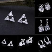 TDQUEEN Zircon Stud Earrings Triangle Clear Crystal Ear Jewelry Fashion Lady Accessories Dazzling CZ Steel Aretes Korean Style