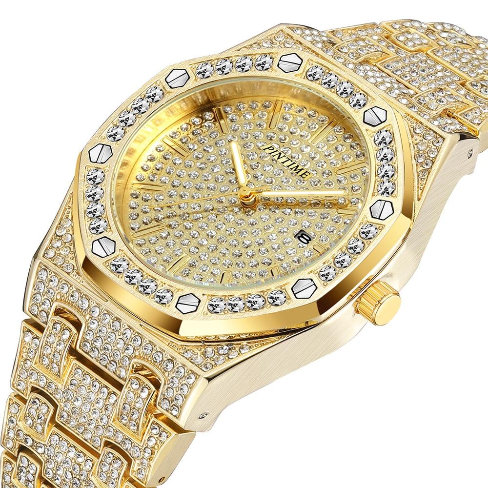 Hip Hop Gold Watch Men Luxury Brand Diamond Mens Watches Top Brand Luxury Iced Out Male Calendar Quartz Watch relogio masculino