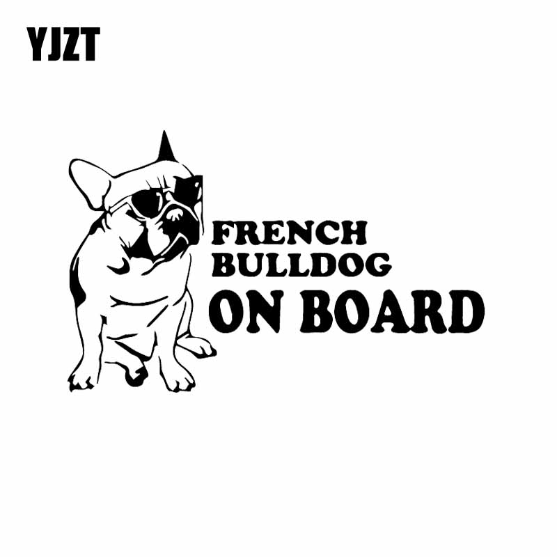 YJZT 16.3X10.2CM French Bulldog On Board Funny Dog Car Sticker Vinyl Decal Window Decor Black/Silver C24-1587