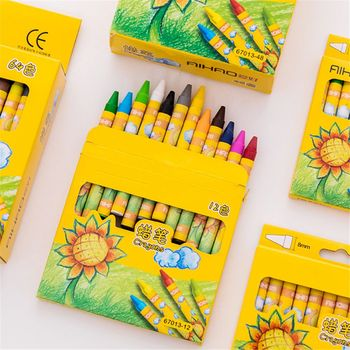 8/12/24 Colors Non-Toxic Wax Crayon Set Creative Graffiti Pens Pastel Painting Drawing Highlighters Kids Art Supplies Gifts - discount item  29% OFF Art Supplies