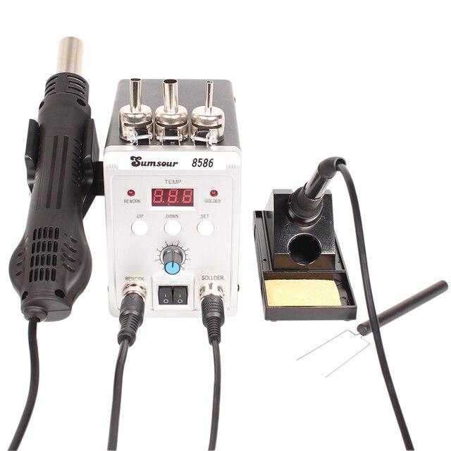 はんだステーション 8586 760 ワット 2 で 1 デジタルディスプレイ smd リワーク熱風銃はんだアイアン 220 220v の esd 溶接はんだ修復ツール