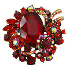 Vintage Women Flower Brooch New Heart Rhinestones and Large Acrylic Stone Red Pins for Collar Scarf Coat Fashion Jewelry