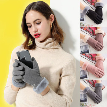 Women Winter Gloves Solid Color Double Layer Plus Velvet Thickening Faux Fur Wrist Mouth Gloves Touch Screen Full Finger women winter touch screen gloves frill trim plus velvet faux leather mittens b95f