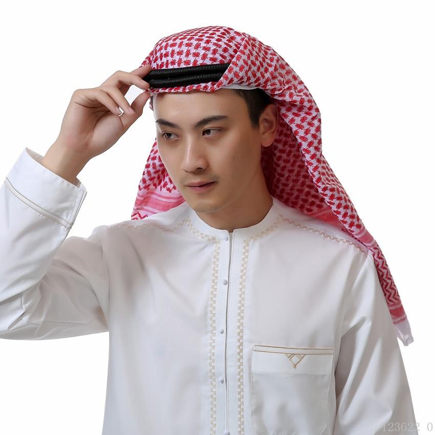 138*138cm Man Muslim Arabic Various Head Scarf Keffiyeh Square Plaid Male Islamic Hijab Ramadan Saudi Arab Headband Accessories
