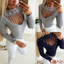 Women Ladies Off Shoulder T-Shirt Tops Spring Sexy Lace Pullover Round Neck Long Sleeve Casual Slim Fit Plain Stretch Top