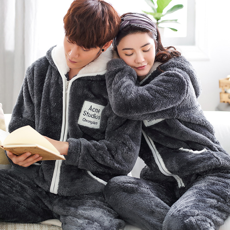 New Pair Pajamas Coral Soft Winter Pajama Women Thick And Warm Flannel Men Home Wear Suit