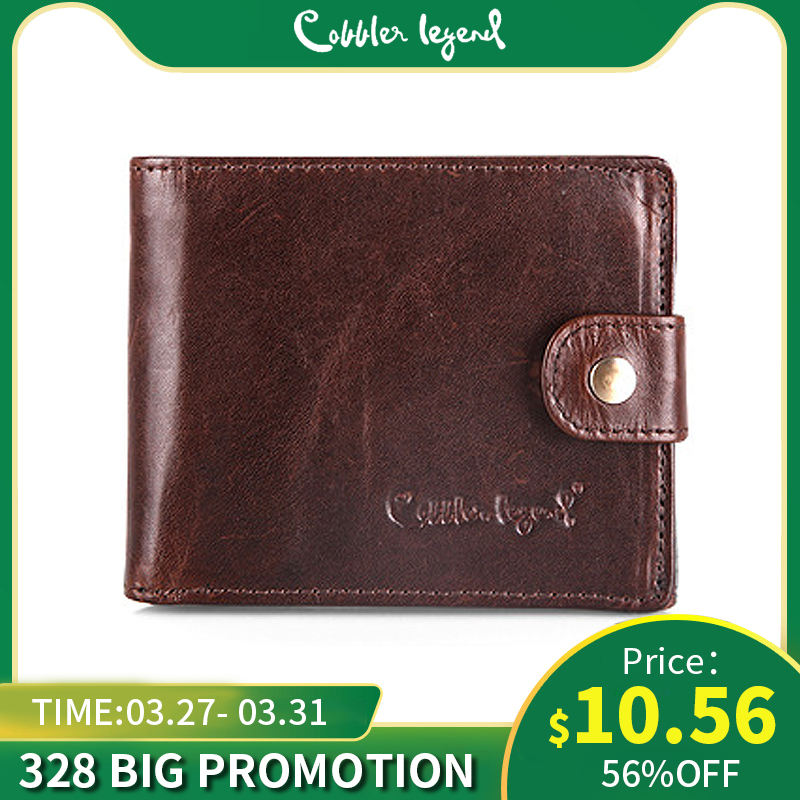 Cobbler Legend Real Cowhide Leather Bifold Business Genuine Leather Men's Short Wallets Coin Purses Male ID Credit Cards Holder