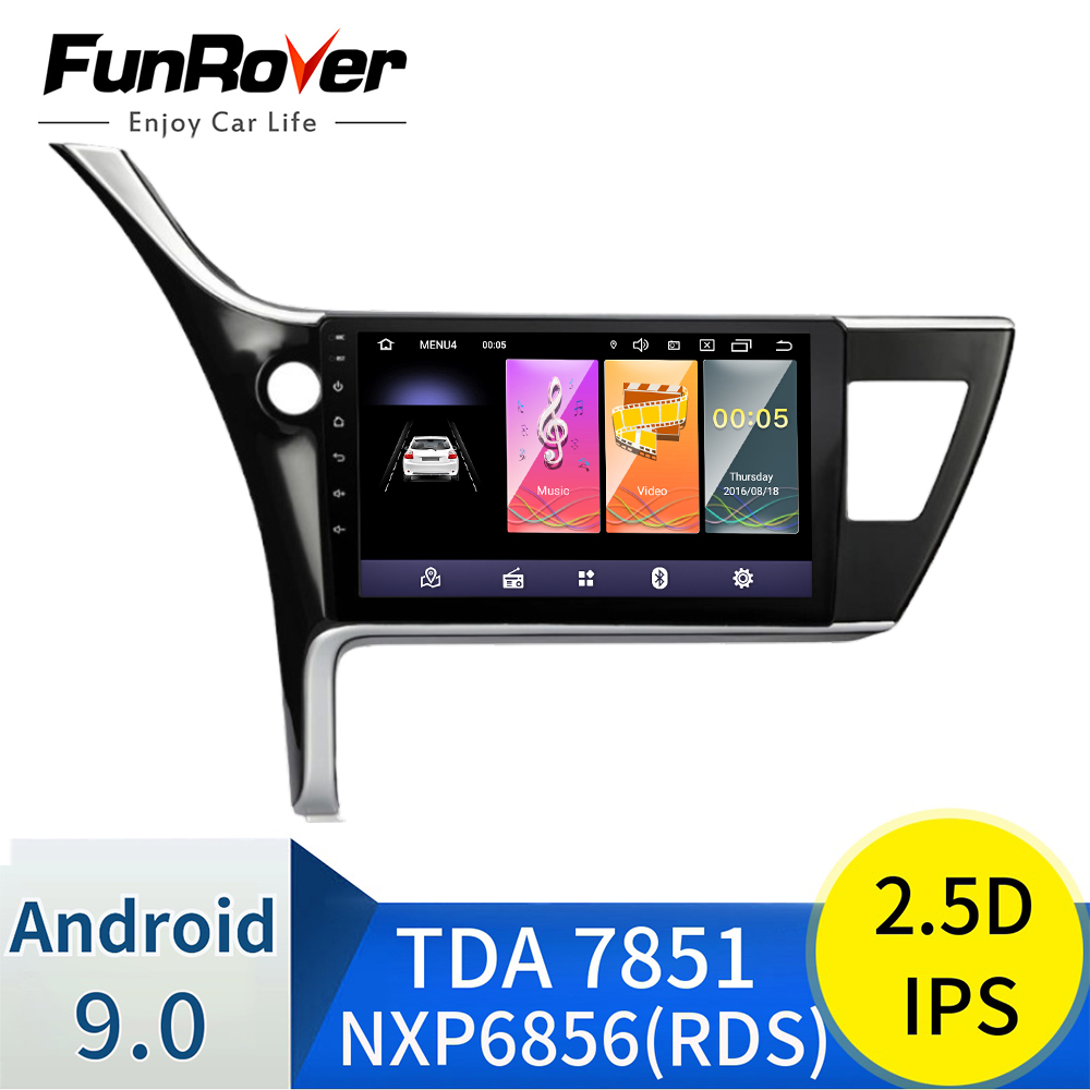 "Funrover Android 8.0 2 din 10 ""Araba radyo Multimedya oynatıcı Toyota Corolla 2017 2018 Için dvd navigasyon gps wifi RDS radyo stereo"