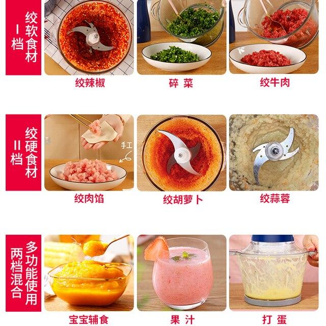 Automatic Meat Grinder Stainless Steel 2L Powerful Mincer Slicer Vegetable Food Processor Cocina Kitchen Chopper Tool MM60JRJ 4