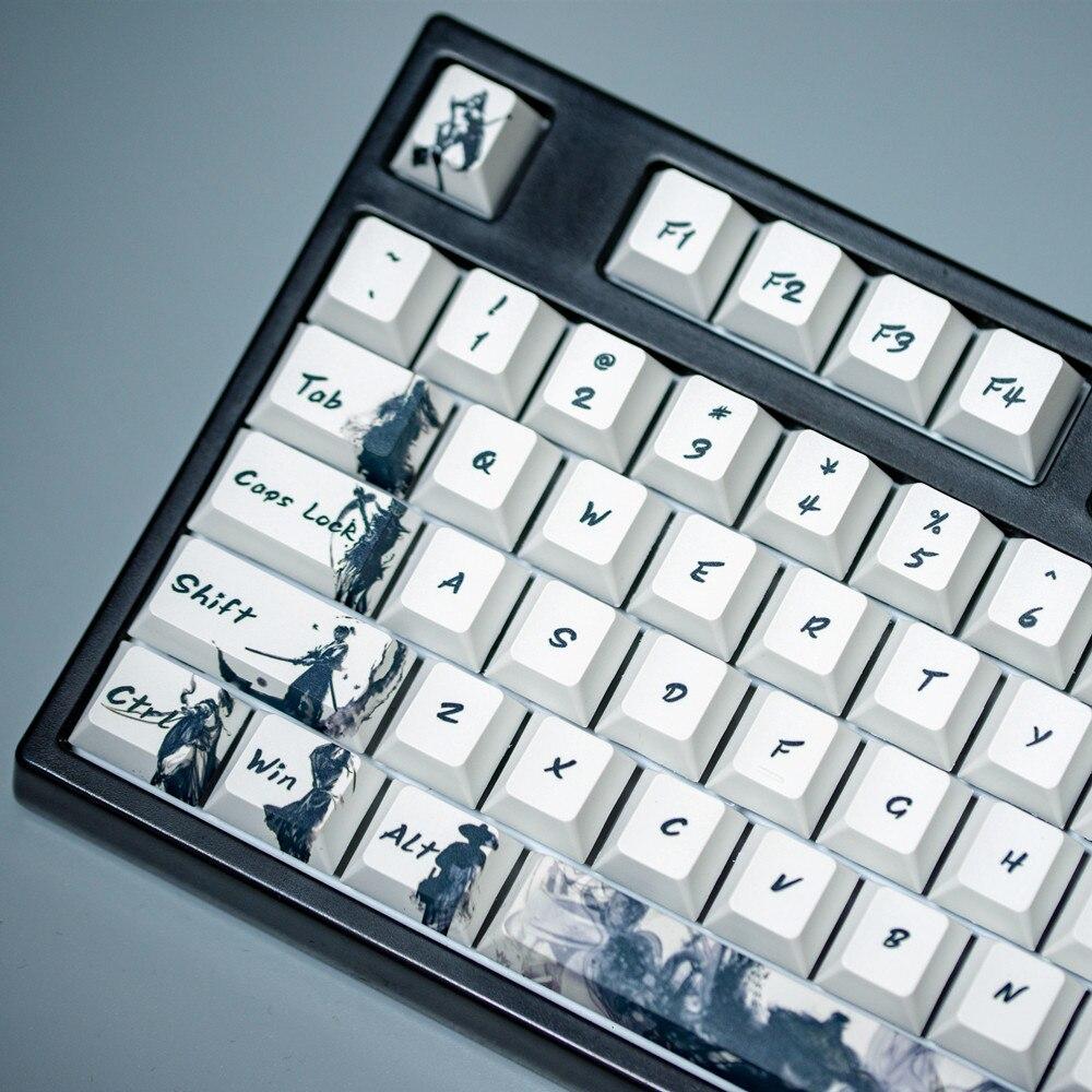 Knight Errant Keycap Ink Keycap  Keycaps 5-Surfaces Dye Sub Profile 104 Key ANIS Layout Augment  Mechanical Keyboard
